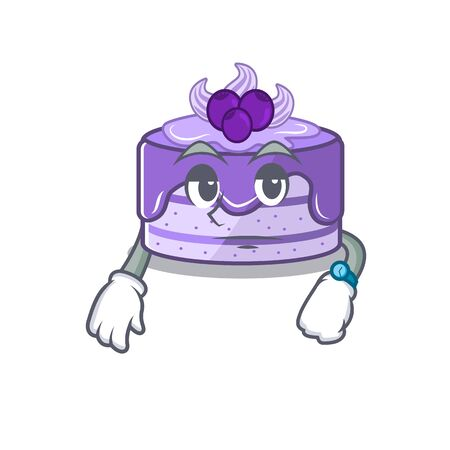 cartoon character design of blueberry cake on a waiting gesture