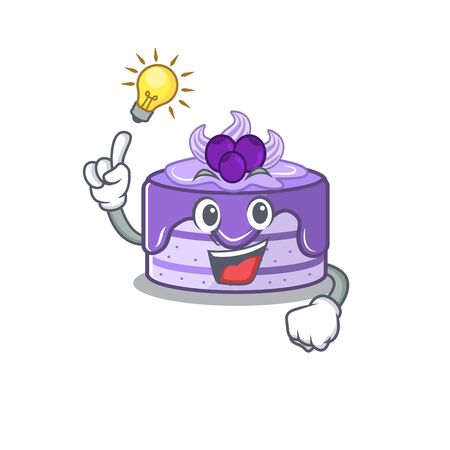 a clever blueberry cake cartoon character style have an idea gesture Иллюстрация