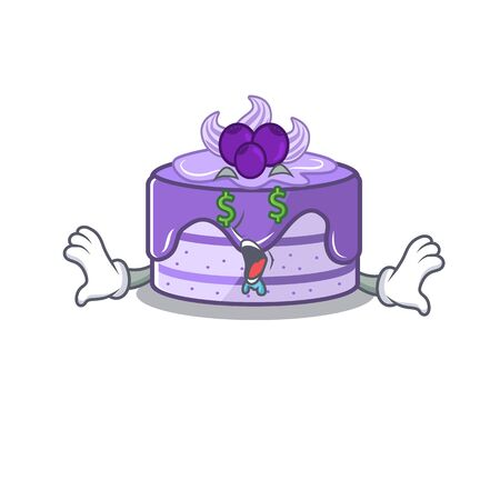 Happy rich blueberry cake cartoon character with Money eye Иллюстрация