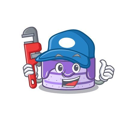 A cute picture of blueberry cake working as a Plumber Иллюстрация