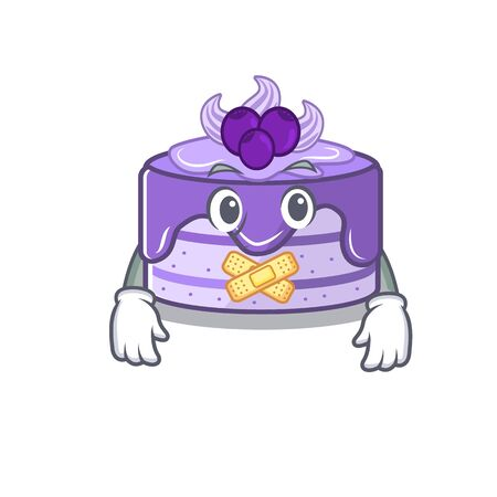 cartoon character design blueberry cake making a silent gesture Иллюстрация