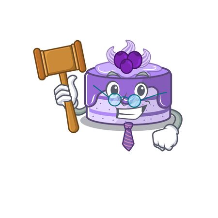 Smart Judge blueberry cake in mascot cartoon character style