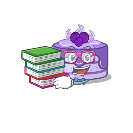 mascot cartoon of blueberry cake studying with book Иллюстрация