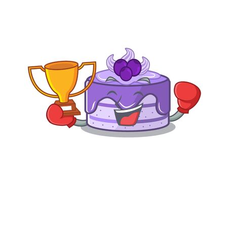 fantastic Boxing winner of blueberry cake in mascot cartoon design