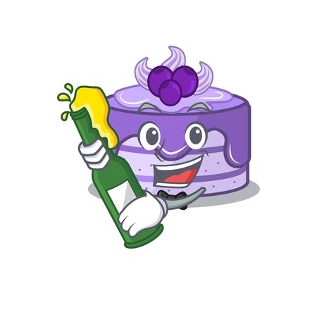 mascot cartoon design of blueberry cake with bottle of beer Иллюстрация