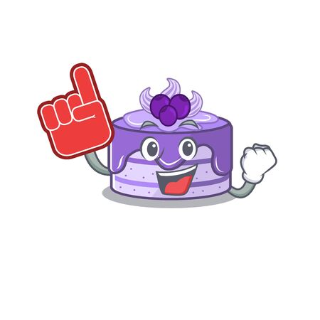 A picture of blueberry cake mascot cartoon design holding a Foam finger