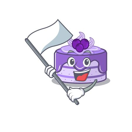 Funny blueberry cake cartoon character style holding a standing flag