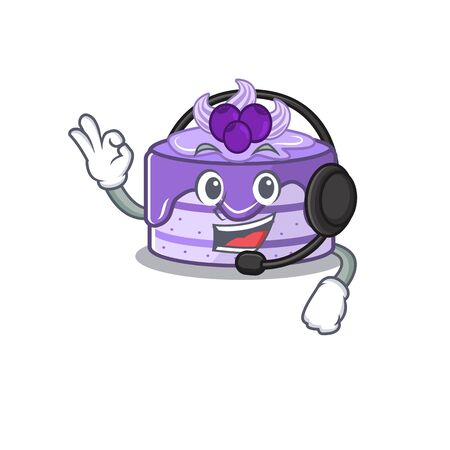 Happy blueberry cake mascot design style wearing headphone