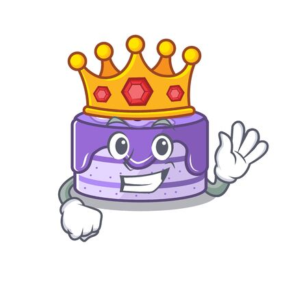 A cartoon mascot design of blueberry cake performed as a King on the stage