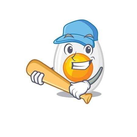 Smiley Funny boiled egg a mascot design with baseball