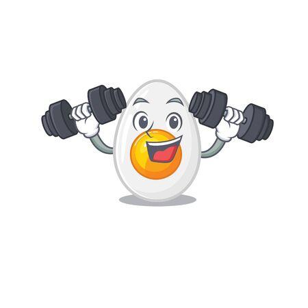 Sporty Fitness exercise boiled egg mascot design using barbells. Vector illustration Ilustrace