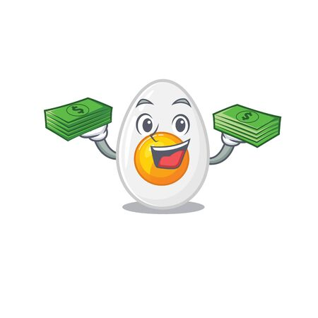 cool rich boiled egg character having money on hands
