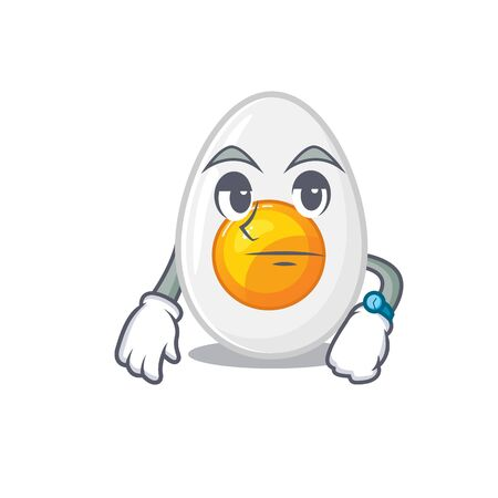 cartoon character design of boiled egg on a waiting gesture. Vector illustration