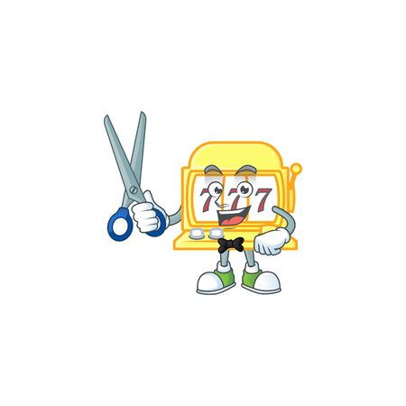 Happy smiling barber golden slot machine mascot design style. Vector illustration