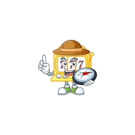 A golden slot machine explorer cartoon design having a compass. Vector illustration