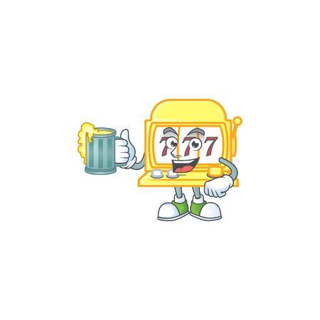 Smiley golden slot machine mascot design holding a glass of beer. Vector illustration Vecteurs
