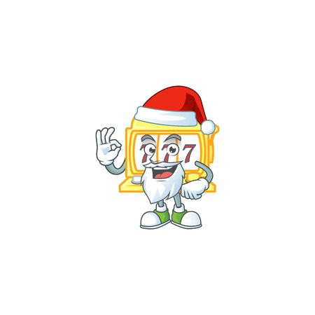 A lovely Santa golden slot machine mascot picture style with ok finger. Vector illustration