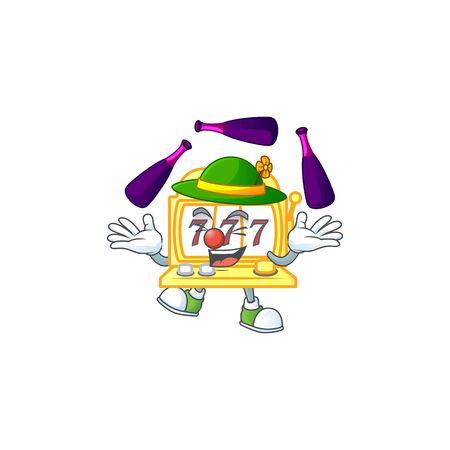 Smart golden slot machine cartoon character style playing Juggling. Vector illustration