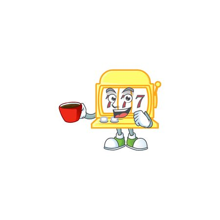 Cool golden slot machine cartoon character with a cup of coffee. Vector illustration