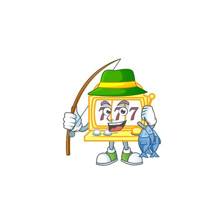 A mascot design of Fishing golden slot machine with 3 fishes
