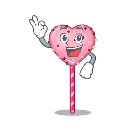 A funny picture of candy heart lollipop making an Okay gesture Çizim