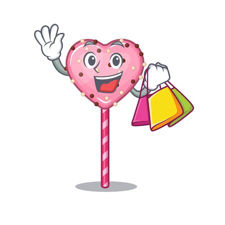 A friendly rich candy heart lollipop waving and holding Shopping bag
