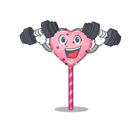 Sporty Fitness exercise candy heart lollipop mascot design using barbells