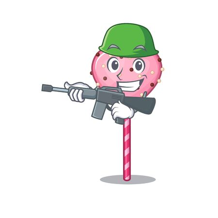 A cute picture of candy heart lollipop Army with machine gun