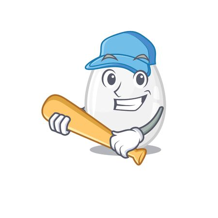 Smiley Funny white egg a mascot design with baseball