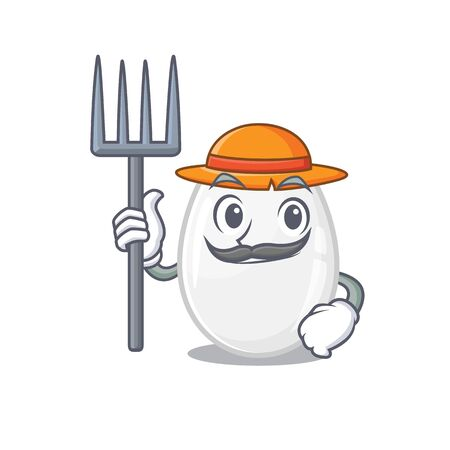 Happy Farmer white egg cartoon picture with hat and tools