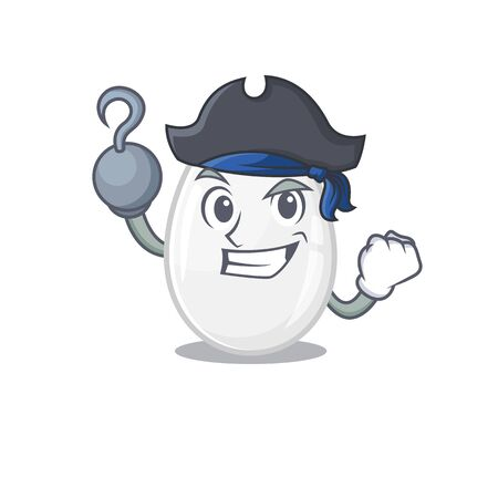 Cute white egg mascot design with a hat
