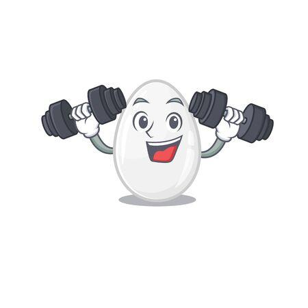 Sporty Fitness exercise white egg mascot design using barbells Ilustrace