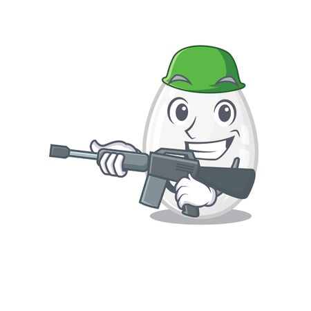 A cute picture of white egg Army with machine gun