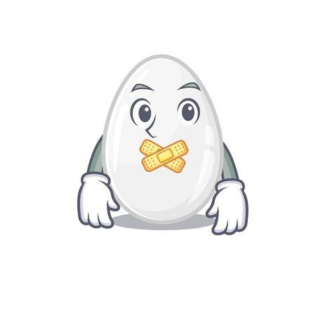cartoon character design white egg making a silent gesture