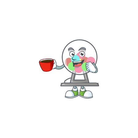 Cool lottery machine ball cartoon character with a cup of coffee