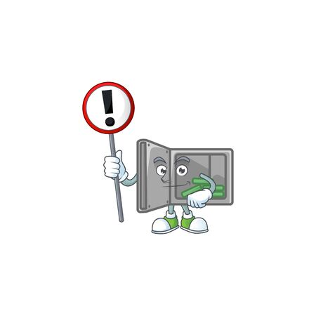 Cartoon character design of security box open rise up a broad