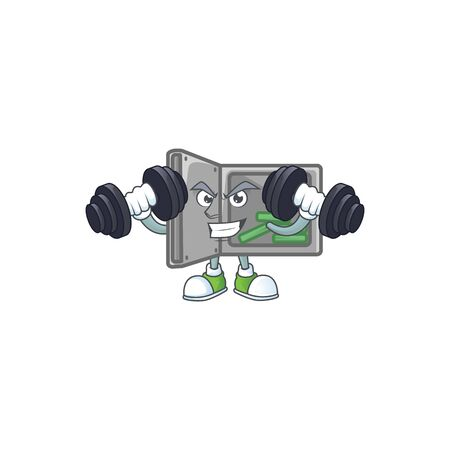 Security box open mascot icon on fitness exercise trying barbells Ilustrace