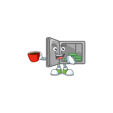 Cool security box open cartoon character with a cup of coffee Çizim