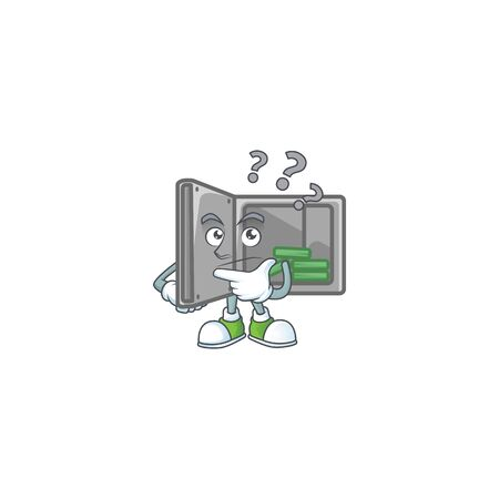 Security box open cartoon mascot style in a confuse gesture Vettoriali
