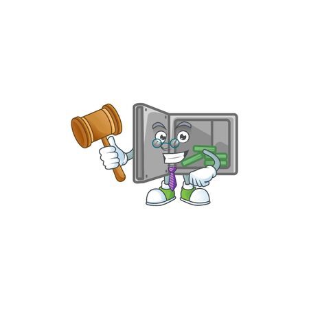 A wise Judge security box open in comic strip character design
