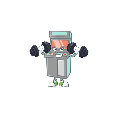 Arcade game machine mascot icon on fitness exercise trying barbells