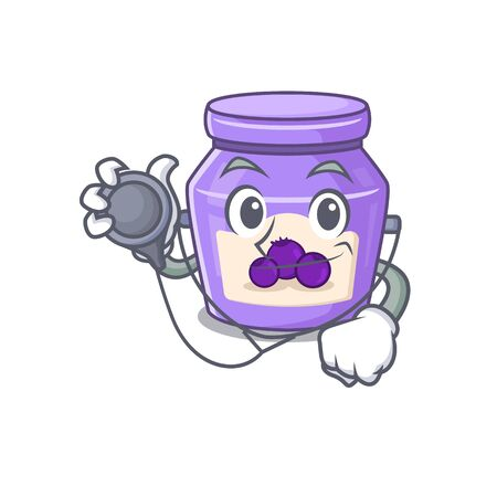 A mascot picture of blueberry jam cartoon as a Doctor with tools. Vector illustration