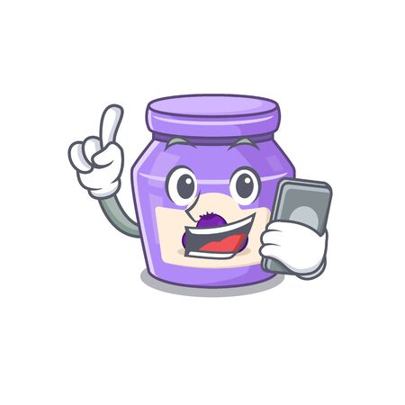 Blueberry jam Cartoon design style speaking on a phone. Vector illustration 일러스트