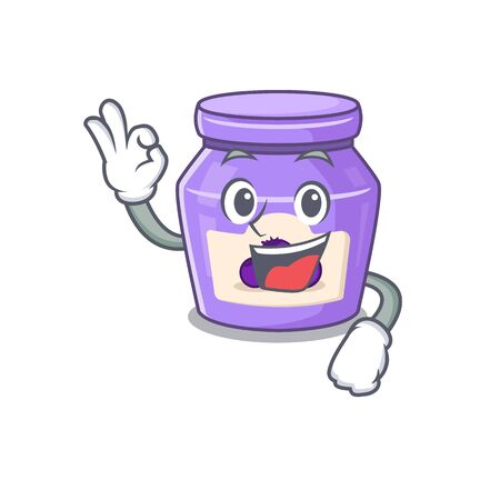 A funny picture of blueberry jam making an Okay gesture. Vector illustration