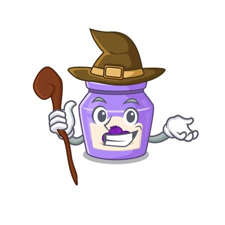 a mascot concept of blueberry jam performed as a witch