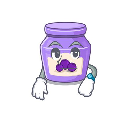 cartoon character design of blueberry jam on a waiting gesture