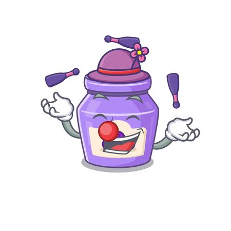 a lively blueberry jam cartoon character design playing Juggling