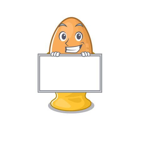 Egg cup cartoon design concept grinning with board. Vector illustration