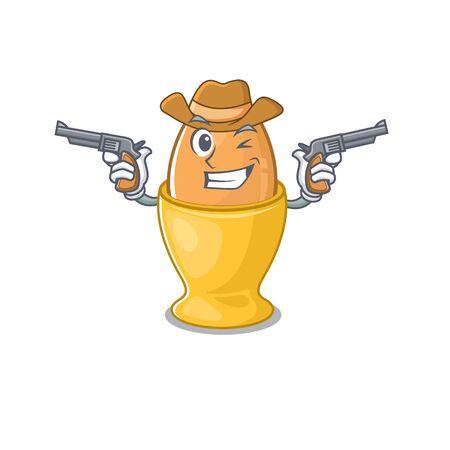 Egg cup Cowboy cartoon concept having guns. Vector illustration