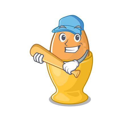 Smiley Funny egg cup a mascot design with baseball. Vector illustration